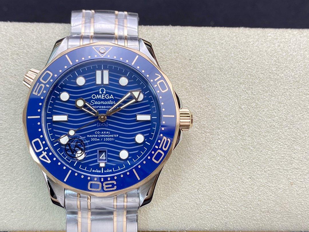 VS FACTORY OMEGA WATCH高仿歐米茄間玫金藍面海馬300米VS厂手表,N廠手錶