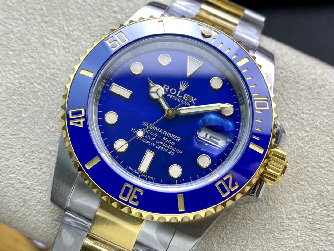 包金仿表VS廠手錶高仿勞力士包金款間金藍水鬼3135機芯複刻手錶