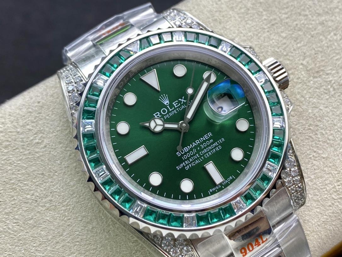 仿表勞力士綠幽靈滿鑽綠水鬼SUB潛水型,N廠手錶