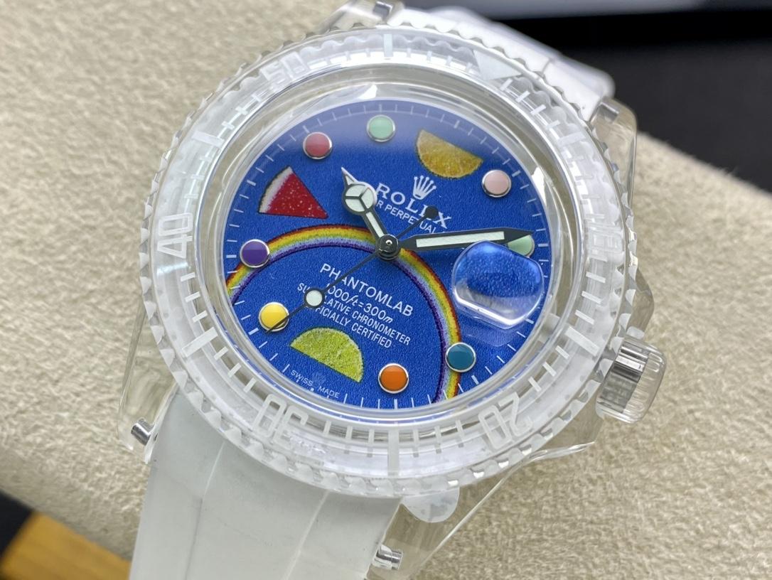BLAKEN高定版改裝透明水鬼幻影實驗室勞力士聯名水晶系列3135機芯,N廠手錶