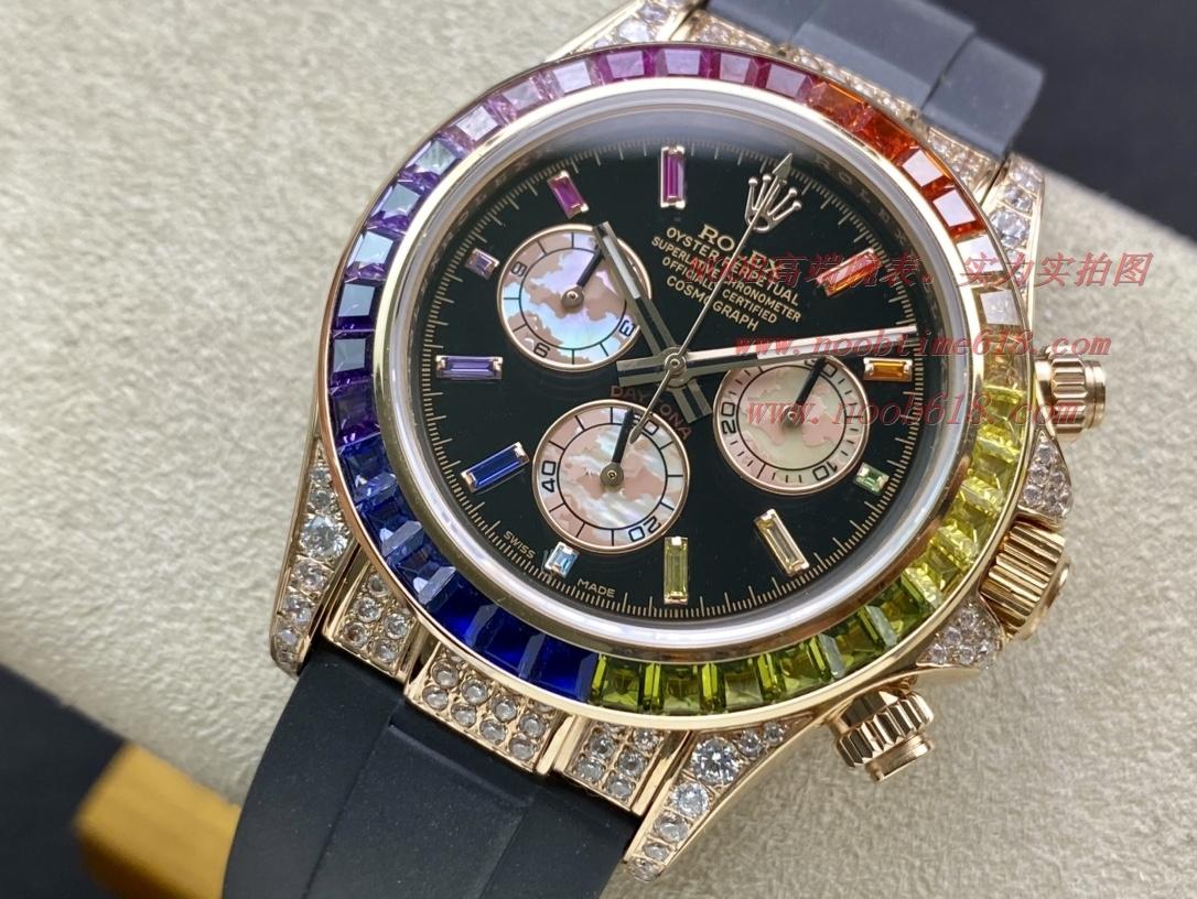 手錶貨源最新勞力士後鑲鑽Rolex彩虹迪Daytona迪通拿,N廠手錶