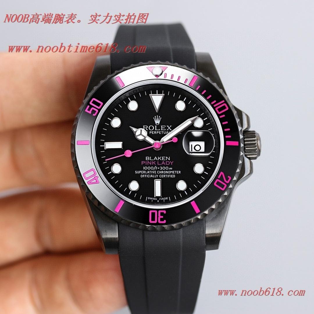 改裝手錶,精仿錶,複刻錶BLAKEN勞力士Rolex碳黑鋼皇膠帶款水鬼系列,N廠手錶