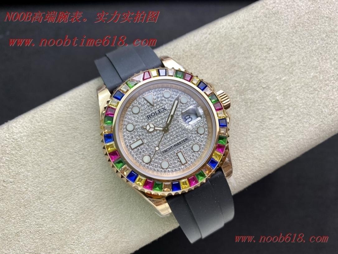 仿錶,精仿錶FINE IMITATION WATCH KS factory勞力士滿鑽彩虹盤金遊艇Rolex m116655-0005鑲滿鑽字面,N廠手錶
