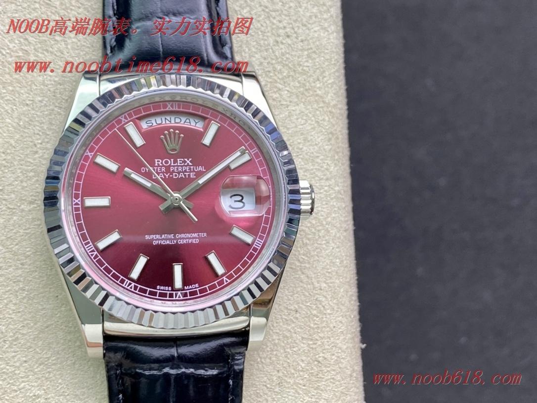 仿錶,稀缺款BP factory rolex勞力士酒紅色星期日志型系列皮帶女表